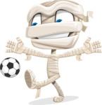 Little Mummy Kid Cartoon Vector Character AKA Fiddo the Mummy Kiddo - Playing Soccer