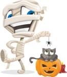 Little Mummy Kid Cartoon Vector Character AKA Fiddo the Mummy Kiddo - Playing With Cat on Halloween