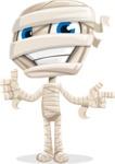Little Mummy Kid Cartoon Vector Character AKA Fiddo the Mummy Kiddo - Pointing and Making Thumbs Up