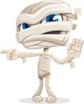 Little Mummy Kid Cartoon Vector Character AKA Fiddo the Mummy Kiddo - Pointing with a Finger