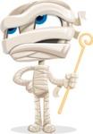 Little Mummy Kid Cartoon Vector Character AKA Fiddo the Mummy Kiddo - Rolling Eyes