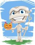 Little Mummy Kid Cartoon Vector Character AKA Fiddo the Mummy Kiddo - Smiling with Halloween Treats And Background