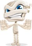 Little Mummy Kid Cartoon Vector Character AKA Fiddo the Mummy Kiddo - Stopping with Hands
