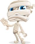 Little Mummy Kid Cartoon Vector Character AKA Fiddo the Mummy Kiddo - Waving for Goodbye with a Hand