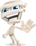 Little Mummy Kid Cartoon Vector Character AKA Fiddo the Mummy Kiddo - Waving for Welcome with a Hand