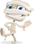 Little Mummy Kid Cartoon Vector Character AKA Fiddo the Mummy Kiddo - Waving