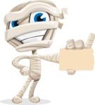 Little Mummy Kid Cartoon Vector Character AKA Fiddo the Mummy Kiddo - With a Blank Business Card