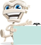 Little Mummy Kid Cartoon Vector Character AKA Fiddo the Mummy Kiddo - With a Blank Halloween Sign with a Bat