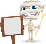 Little Mummy Kid Cartoon Vector Character AKA Fiddo the Mummy Kiddo - With a Blank Wood Sign