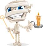 Little Mummy Kid Cartoon Vector Character AKA Fiddo the Mummy Kiddo - With a Candle