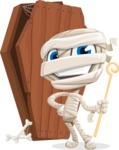 Little Mummy Kid Cartoon Vector Character AKA Fiddo the Mummy Kiddo - With a Coffin