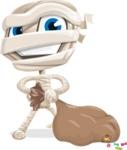 Little Mummy Kid Cartoon Vector Character AKA Fiddo the Mummy Kiddo - With a lot of Halloween Treats