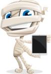 Little Mummy Kid Cartoon Vector Character AKA Fiddo the Mummy Kiddo - With a Tablet