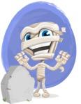 Little Mummy Kid Cartoon Vector Character AKA Fiddo the Mummy Kiddo - With a Watercolor Background