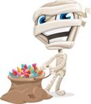 Little Mummy Kid Cartoon Vector Character AKA Fiddo the Mummy Kiddo - With Bag full of Halloween Treats