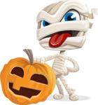 Little Mummy Kid Cartoon Vector Character AKA Fiddo the Mummy Kiddo - With Big Halloween Pumpkin