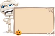 Little Mummy Kid Cartoon Vector Character AKA Fiddo the Mummy Kiddo - With Blank Halloween Whiteboard