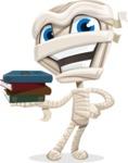 Little Mummy Kid Cartoon Vector Character AKA Fiddo the Mummy Kiddo - With Books