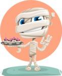 Little Mummy Kid Cartoon Vector Character AKA Fiddo the Mummy Kiddo - With Cakes and Flat Background