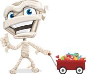 Little Mummy Kid Cartoon Vector Character AKA Fiddo the Mummy Kiddo - With Candy Wagoon