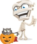 Little Mummy Kid Cartoon Vector Character AKA Fiddo the Mummy Kiddo - With Cat