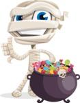 Little Mummy Kid Cartoon Vector Character AKA Fiddo the Mummy Kiddo - with Cauldron full of Sweets