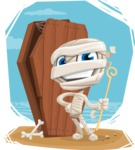 Little Mummy Kid Cartoon Vector Character AKA Fiddo the Mummy Kiddo - With Coffin and Colorful Background