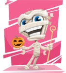 Little Mummy Kid Cartoon Vector Character AKA Fiddo the Mummy Kiddo - With Colorful Background