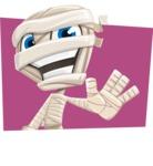 Little Mummy Kid Cartoon Vector Character AKA Fiddo the Mummy Kiddo - With Flat Shape Background