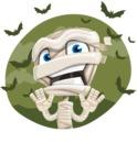 Little Mummy Kid Cartoon Vector Character AKA Fiddo the Mummy Kiddo - With Halloween Background with Bats