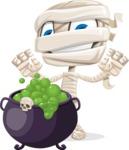 Little Mummy Kid Cartoon Vector Character AKA Fiddo the Mummy Kiddo - With Halloween Caldron