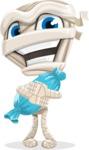 Little Mummy Kid Cartoon Vector Character AKA Fiddo the Mummy Kiddo - With Halloween Candy