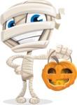 Little Mummy Kid Cartoon Vector Character AKA Fiddo the Mummy Kiddo - With Halloween Lantern