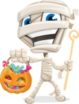 Little Mummy Kid Cartoon Vector Character AKA Fiddo the Mummy Kiddo - with Halloween Pumpkin and Candies