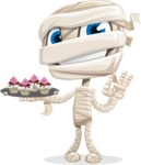 Little Mummy Kid Cartoon Vector Character AKA Fiddo the Mummy Kiddo - With Halloween Sweets