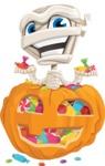 Little Mummy Kid Cartoon Vector Character AKA Fiddo the Mummy Kiddo - With Huge Pumpkin full of Treats