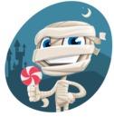 Little Mummy Kid Cartoon Vector Character AKA Fiddo the Mummy Kiddo - With Night Background