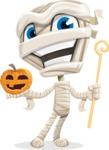 Little Mummy Kid Cartoon Vector Character AKA Fiddo the Mummy Kiddo - With Pumpkin