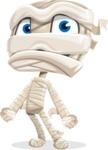 Little Mummy Kid Cartoon Vector Character AKA Fiddo the Mummy Kiddo - With Sad Face