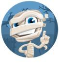 Little Mummy Kid Cartoon Vector Character AKA Fiddo the Mummy Kiddo - With Simple Style Halloween Background
