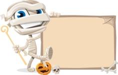 Little Mummy Kid Cartoon Vector Character AKA Fiddo the Mummy Kiddo - With Whiteboard on Halloween Theme