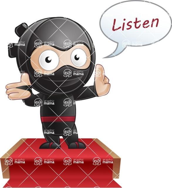 Cute Simple Style Ninja Cartoon Vector Character AKA Ami - Speaker 1