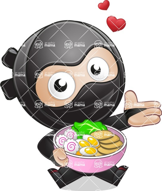 Cute Simple Style Ninja Cartoon Vector Character AKA Ami - Ramen