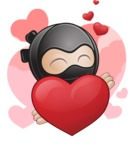 Cute Simple Style Ninja Cartoon Vector Character AKA Ami - Shape 2