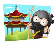 Cute Simple Style Ninja Cartoon Vector Character AKA Ami - Shape 4