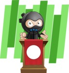 Cute Simple Style Ninja Cartoon Vector Character AKA Ami - Shape 6