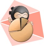 Cute Simple Style Ninja Cartoon Vector Character AKA Ami - Shape 8