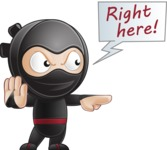 Cute Simple Style Ninja Cartoon Vector Character AKA Ami - Direct Attention 1