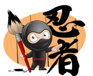 Cute Simple Style Ninja Cartoon Vector Character AKA Ami - Shape 11