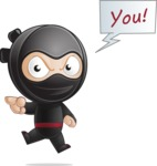 Cute Simple Style Ninja Cartoon Vector Character AKA Ami - Direct Attention 2